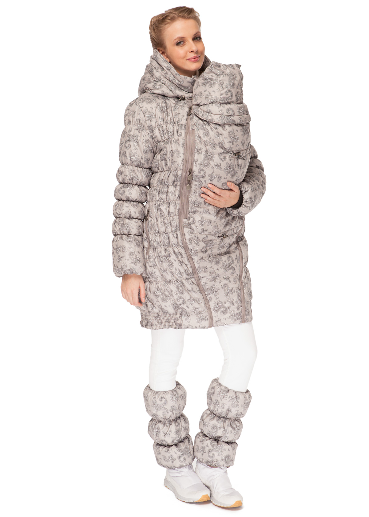 Iceland Maternity 3in1 Sling Panel Puffer Winter Coat In Beige With Paisley